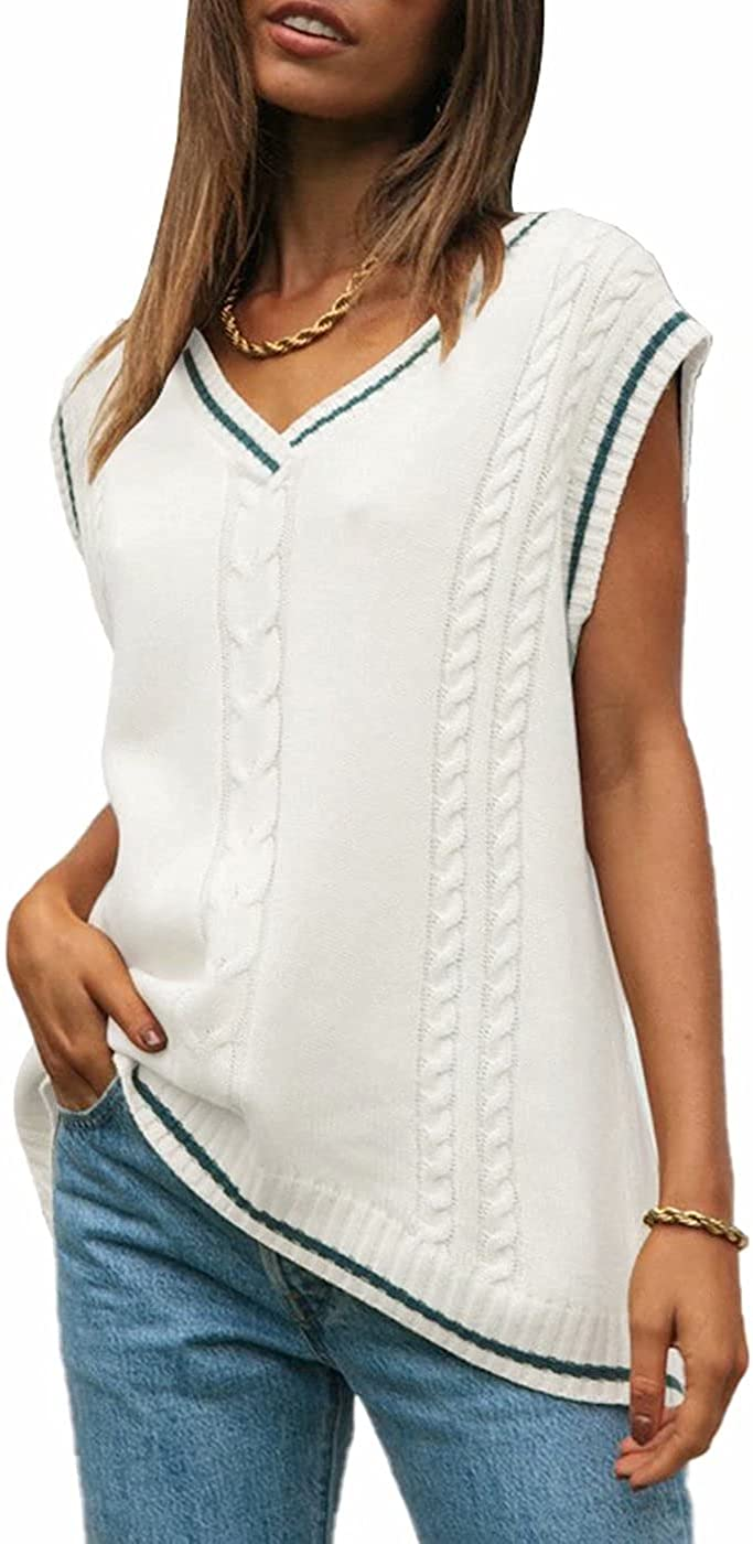Women's Sweater Vest Casual V Neck Sleeveless Tops Oversized Cable Knit Tank Tops 90s Pullover Sweater Tank