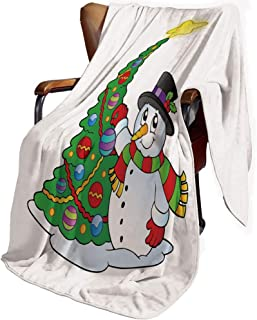SfeatrutMAT Luxury Flannel Throw Blanket,Snowman,Lovely Character Near a Christmas Tree Festive Celebration Holiday Winter Time,Soft Cozy Warm Fluffy Plush Blankets 60x80inch