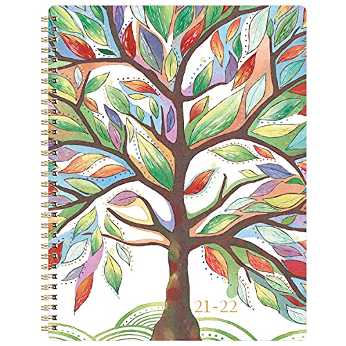 2021-2022 Planner - Academic Planner, Weekly & Monthly Planner with Printed Tabs, 8' x 10', Jul. 2021 - Jun. 2022, Contacts + Calendar + Holidays, Twin-Wire Binding with Thick Paper - Watercolor Tree