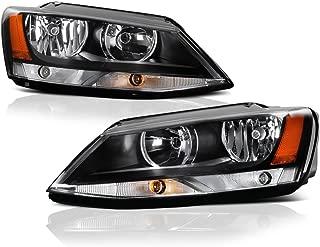 VIPMOTOZ Black Housing OE-Style Headlight Headlamp Assembly For 2011-2018 Volkswagen VW MK6 Jetta Sedan Halogen Model, Driver & Passenger Side