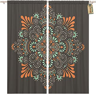 Golee Window Curtain Flower Mandala Vintage Oriental Pattern Indian Turkish Pakistan Home Decor Rod Pocket Drapes 2 Panels Curtain 104 x 63 inches