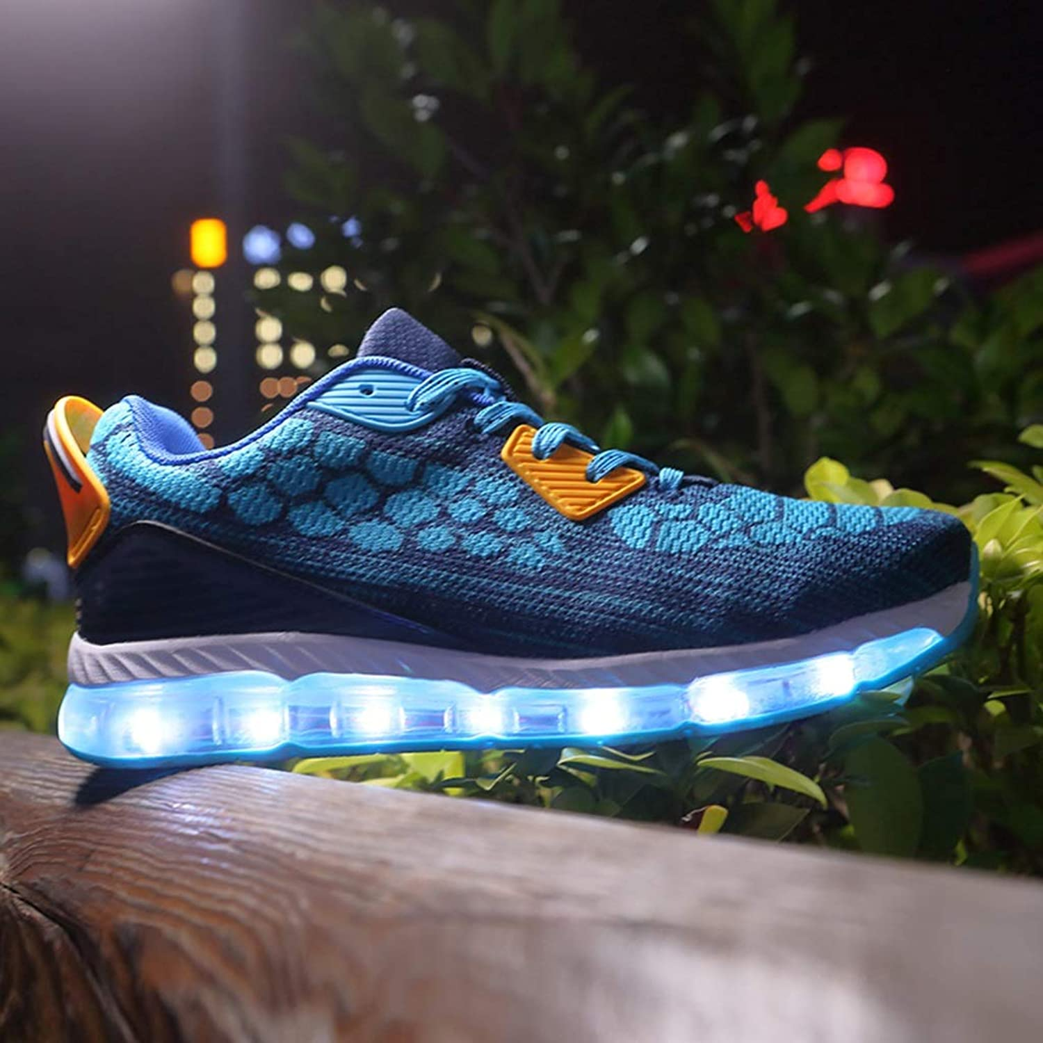 Peng ye Stretch Cloth Breathable Mesh LED colorful Lights Illuminating shoes USB Charging Flash Ghost Dance shoes Luminous shoes Sweat Comfort (color   C, Size   39EU)