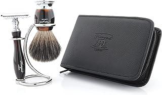Bezpieczny zestaw golarek z uchwytem do golenia ze stali nierdzewnej stojak borsuk szczotka do golenia włosów dla mężczyzn...