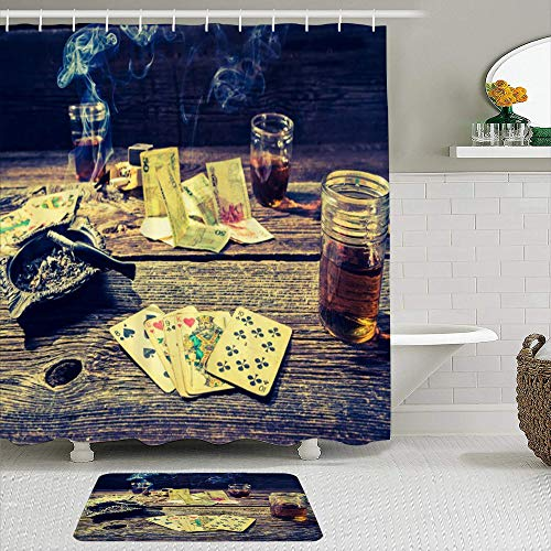 vhg8dweh Juegos de Cortinas de baño con alfombras Antideslizantes, Mesa de póker del Casino del cigarro,con 12 Ganchos