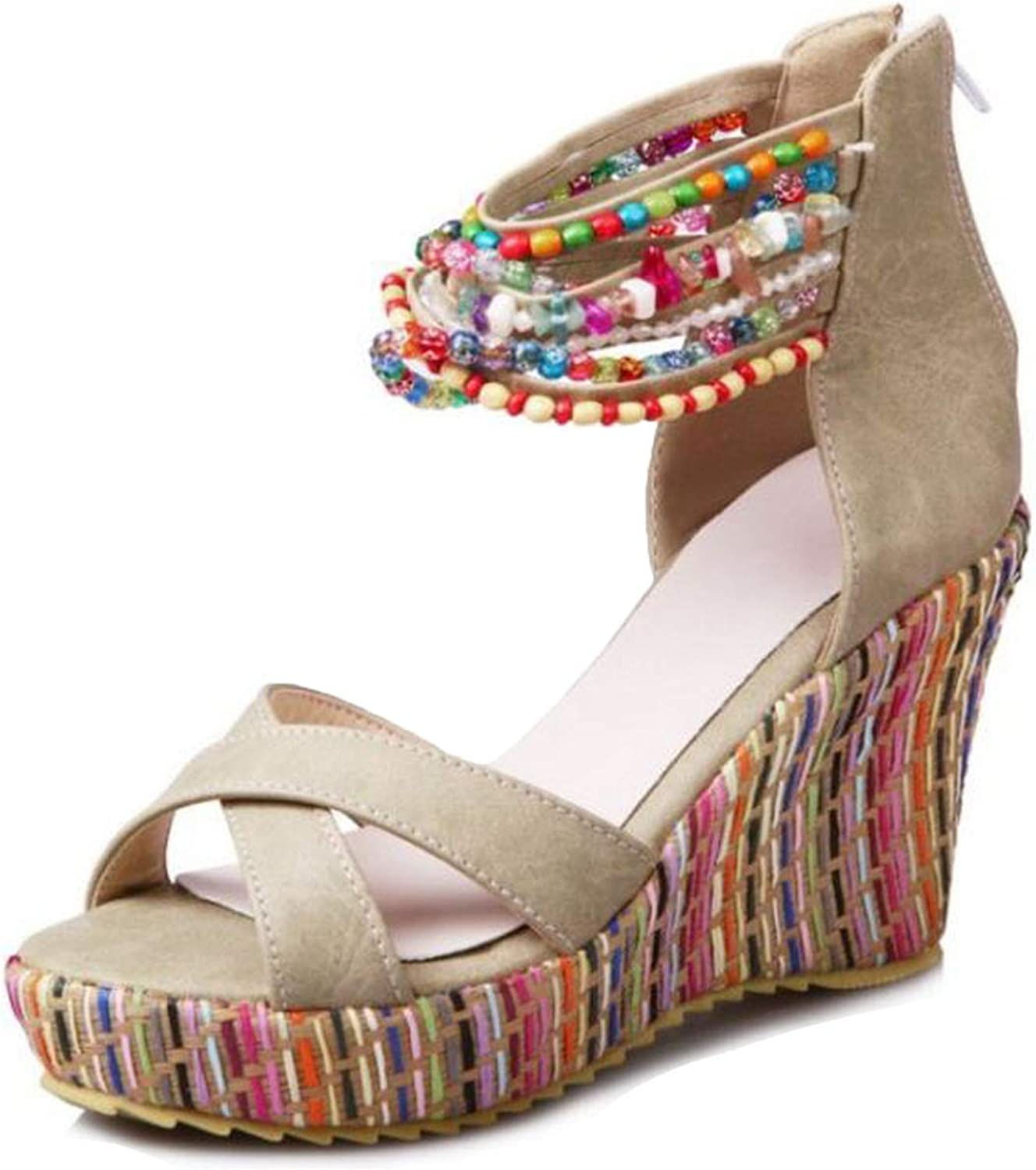 Women High Wedges Sandals Beading Platform Ankle Strap High Wedges Sandals Summer Vacation shoes