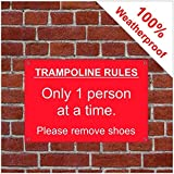 Trampolin Rules Disclaimer Sign 3514WR extrem langlebig und wetterfest 3 mm, PVC 400mm x 600mm