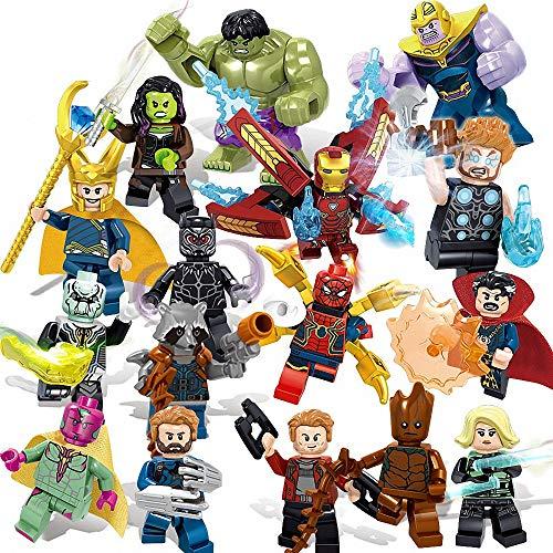 LINYOTEC Superhelden-Set mit Zubehör 16 Stücke Minifiguren, Actionfiguren Bauklötze Kinder Spielzeug, Super...