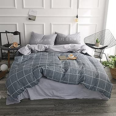 VClife Full Queen Checkered Plaid Bedding Sets Grey Striped Bedding Collections 3 Pieces Duvet Cover with Pillowcases, Ultra Soft, Lightweight, Hypoallergenic, Durable (Style 5,Queen)