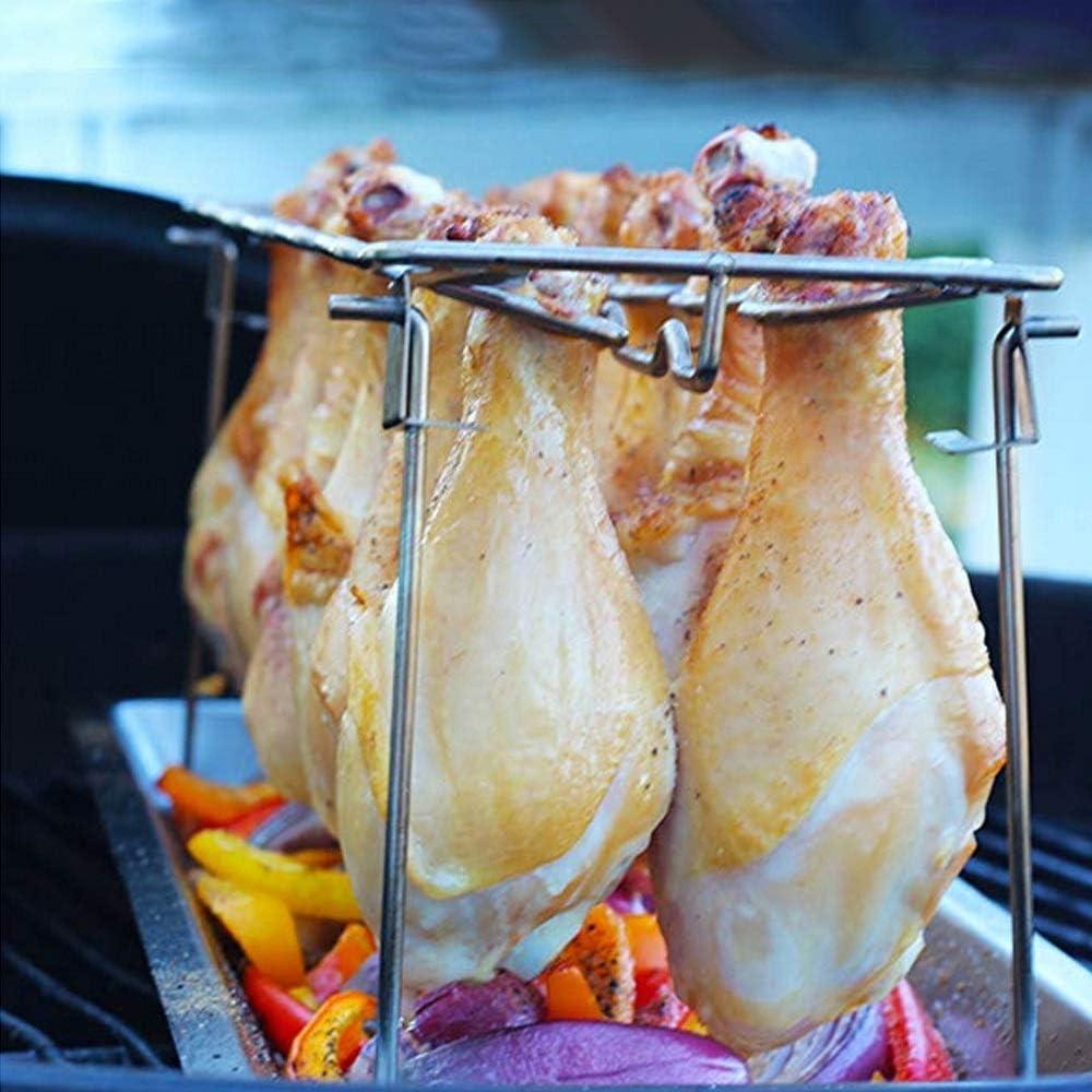 WeiCYN Poulet Vertical en Acier Inoxydable Roaster Rack avec Bol Tin antiadhésif Outils de Cuisson de Cuisson Pan Barbecue Griller Accessoires de Barbecue (Color : Type A) Type A