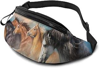 Dujiea Fanny Pack, Running Horse Waist Bag with Headphone Hole Belt Bag Adjustable Sling Pocket Fashion Hip Bum Bag for Wo...