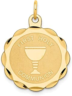 14k Yellow Gold First Holy Communion Words On Round Disc Charm 26x20mm