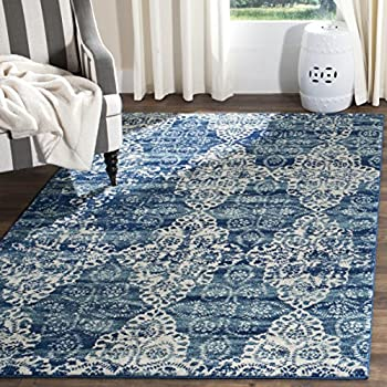 Safavieh Evoke Collection EVK266F Royal Blue and Ivory Area Rug (9' x 12')