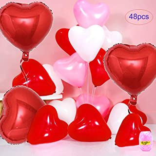 Heart Balloons Premium Latex Heart Shape Balloons 12 Inch 48 PCS (3 x18 Inch Red Foil Heart Balloons Included), Suitable for Valentine's Day Engagement Wedding Party Decorations (Red+Pink+White)