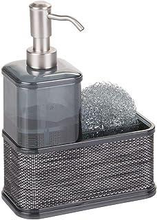 mDesign dispensador de jabón recargable - Dosificador de jabón hecho de plástico resistente - Con portaestropajos - Color: gris/negro