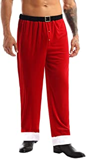 YOOJIA Men's Soft Velvet Santa Claus Long Pants Loose Trousers Christmas Cosplay Costume