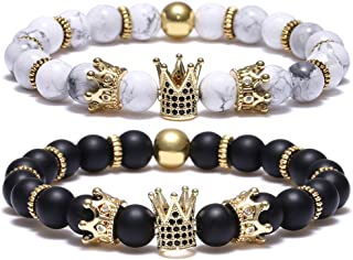 BOMAIL 8mm Crown King Charm Bracelet for Men Women Black Matte Onyx Natural Stone Beads Couple Jewelry