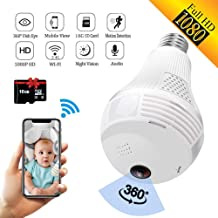 SARCCH Light Bulb Camera,Dome Surveillance Camera 1080P 2.4GHz WiFi 360 Degree Wireless..