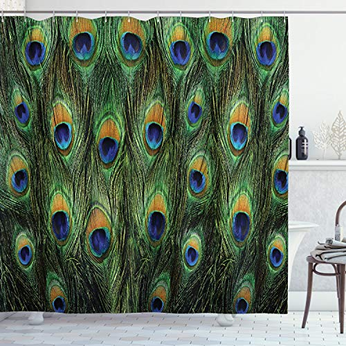 """Ambesonne Peacock Shower Curtain, Peacock Tail Feathers Tropical Exotic Animals Close-up Picture Artwork, Cloth Fabric Bathroom Decor Set with Hooks, 75"""" Long, Green Mustard"""