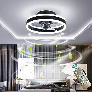 YUNZI Ø50cm 30W Ventilador de Techo con Luces LED Atenuación Círculo Redondo Sencillo Lámpara de Ventilador de Techo para Sala de Estar Habitación Oficina Iluminación de Techo,Negro