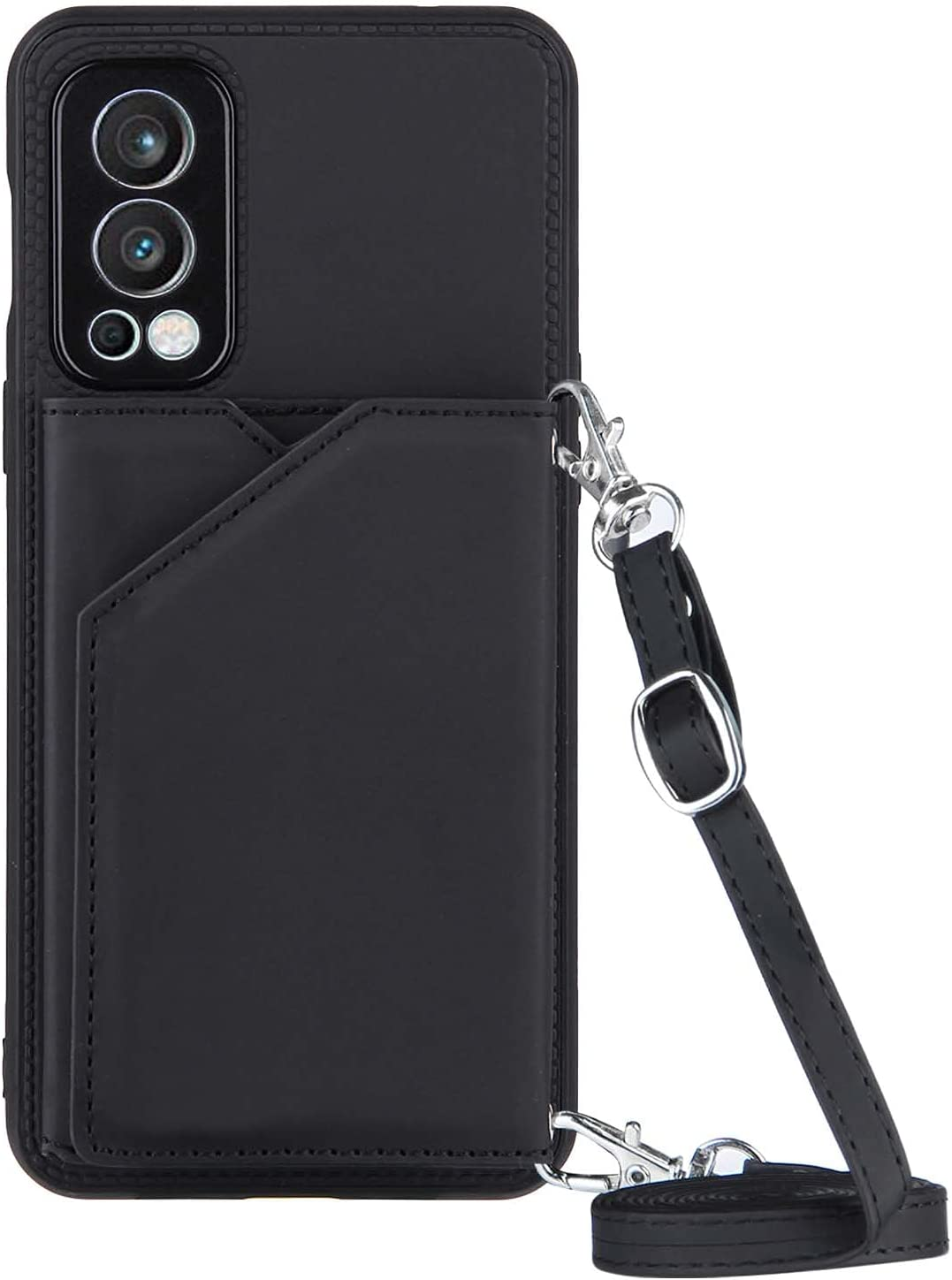 Nord 2 Shoulder Strap Case for OnePlus Nord 2 Lanyard Wallet Case, Cross-Body Girly Bumper Cover (Black)