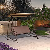 PURPLE LEAF Porch Patio Swing with Canopy, 3 Person Swing with Stand, Outdoor Swings for Adults, Adjustable Canopy and Textilene Mesh Fabric, Brown