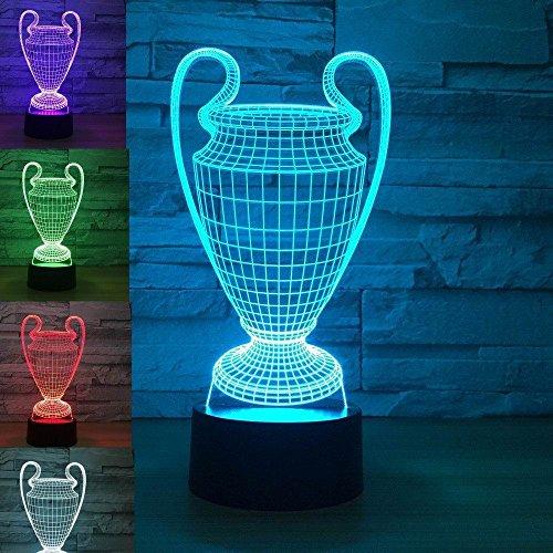 3D Fußball - Weltmeisterschaft Die trophäe Optische Illusions-Lampen, Tolle 7 Farbwechsel berühren Tabelle Schreibtisch-Nachtlicht mit USB-Kabel für Kinder Schlafzimmer Geburtstagsgeschenke