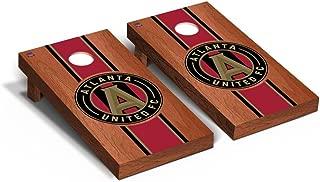 Victory Tailgate Atlanta United FC MLS Soccer Regulation Cornhole Game Set Rosewood Stained Stripe Version