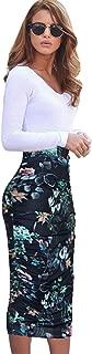 Womens Elegant Ruched Ruffle High Waist Pencil Midi Mid-Calf Skirt