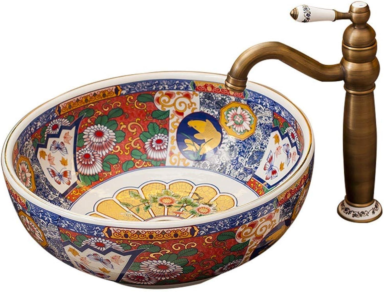 Einzigartige Keramik über Waschbecken Badezimmer zu Hause antike Art Basin Platz Waschbecken Waschtisch Waschbecken, ComboArtistic Vessel Vanity Sink BowlGeeignet für Hotelbder, Bars, Huser