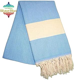 The Original Balik Sirti Baby Blue Turkish Towel - Hammam, Peshtemal, Fouta, Peshkir - 100% Natural Cotton, Ultra-Soft, Fa...