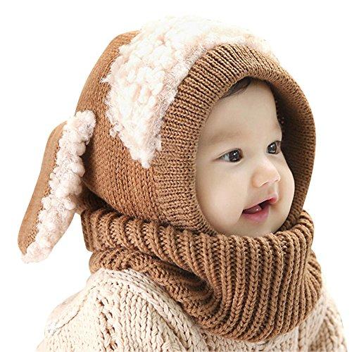 IMLECK Magnificent Baby Unisex-Warm Puppy Cloak Scarf Shawl Baby Infant Smart Hat Brown