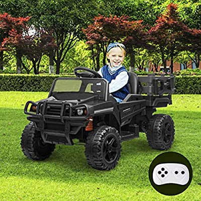 Kidsclub Electric Cars for Kids Kids Car Electric Ride on Car with Remote Control 12V Ride on Toys Electric Truck Toy Radio Parental Control LED Lights Seatbelt Music Easy to Assemble from Kidsclub