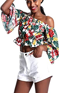 Women's Off Shoulder Flare Sleeve Floral Print Flounce Loose Fit Crop Tops Blouse