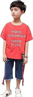 ALKAQ 男の子 上下セット Tシャツ デニムパンツ ショートパンツ セットアップ ロゴプリント 子供服 ボーイズ tシャツ ジーンズ 韓国風 カジュアル