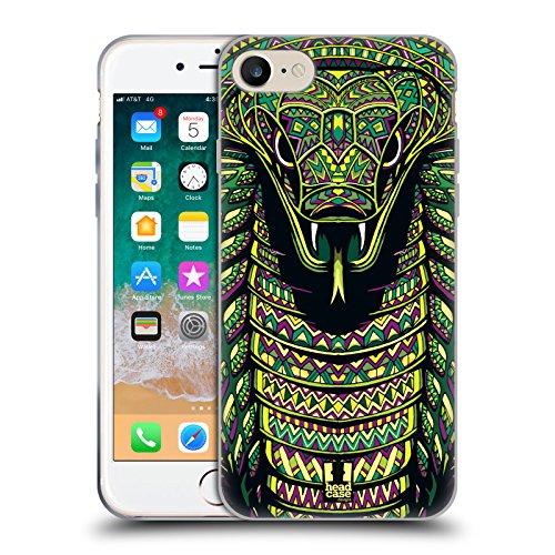 Head Case Designs Serpente Volti di Animali Aztechi Serie 6 Cover in Morbido Gel e Sfondo di Design Abbinato Compatibile con Apple iPhone 7 / iPhone 8 / iPhone SE 2020