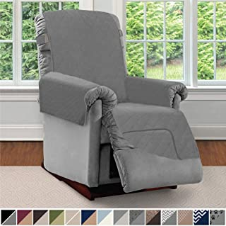 Sofa Shield Original Patent Pending Reversible Recliner Slipcover, 2 Inch Strap Hook Seat Width to 25 Inch Washable Slip Cover Furniture Protector for Recliners, Small Recliner, Charcoal Charcoal