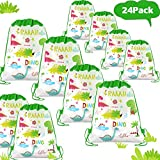 POKONBOY 24 Pack Dinosaur Party Favors Bags for Gift Bag, Dinosaur Birthday Party Supplies Dinosaur Party Bags for kids birthday Gift Bag Dinosaur Toys