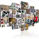 murando Cuadro en Lienzo Banksy 200x100 cm Impresión de 5 Piezas Material Tejido no Tejido Impresión Artística Imagen Gráfica Decoracion de Pared Abstracto i-C-0092-b-n Collage
