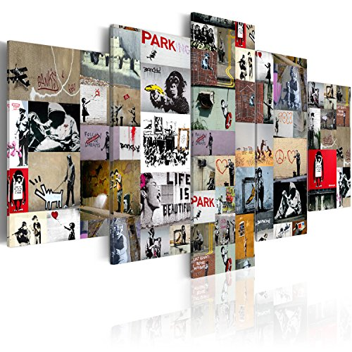 murando - Cuadro en Lienzo 200x100 cm Banksy Impresión de 5 Piezas Material Tejido no Tejido Impresión Artística Imagen Gráfica Decoracion de Pared Abstracto i-C-0092-b-n Collage