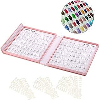 Anself Professional 120 Colors Nail Gel Polish Display Chart Nail Polish Color Card with Tips Pink