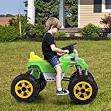 JAXPETY 12V ATV Ride On Car Toy Truck with Big Wheels and Music, Green