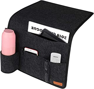 Simboom Bedside Caddy Organizer Thickened Felt Anti-Slip, Convinient Bed Sofa Desk Hanging Organizer for Waterbottle, Phone, iPad, Magazines, Remotes - Dark Grey