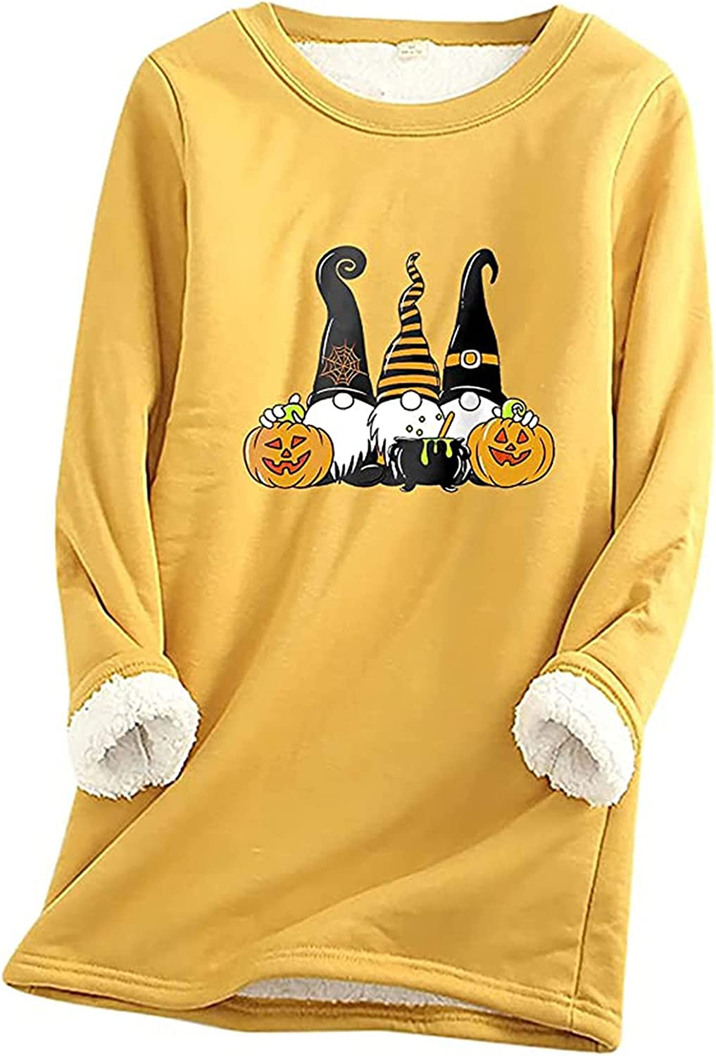 Womens Winter Shirts Fleece Lined Thermal Underwear Halloween Gnomes Pullover Tops Casual Baselayer Undershirt Blouse