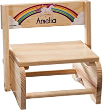 Fox Valley Traders Personalized 2-in-1 Children's Step Stool and Chair, Customized with Kid's Name, Unicorn Design
