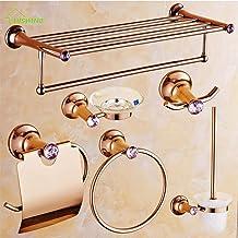 WANDOM luxe roze kristal/diamant koper Pools badaccessoires sets papierhouder/handdoekring/handdoekhouder/zeepbakje/kledin...