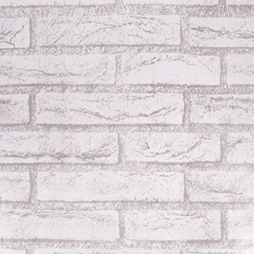 SICOHOME Brick Wallpaper,11 Yards Grey Peel and Stick Wallpaper
