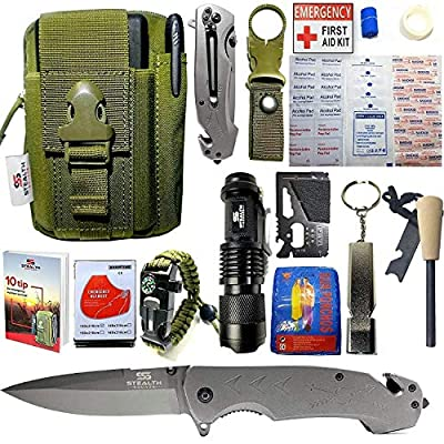 STEALTH SQUADS 42 in 1 Survival Military Pouch KIT, Premium Tactical Pocket Knife, First AID KIT, EDC Multi-Tool USE for Camping, Hiking, Biking, Outdoor Emergency Safety Gears w/Bonus E-Book