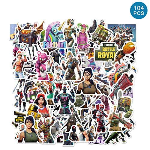 104pcs Fort_nite Stickers - Art Focus Gaming Stickers for Hydro Flask Water Bottles Laptops Travel Case