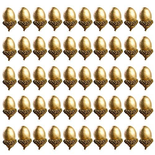 Ziyero 50 STK künstliche Eicheln mit natürlichem Eichelkappe Simulation Kleine Eichel Set Fake Eichel Ungiftig, für Weihnachten Dekoration, Herbst Tisch Streudeko, DIY Basteln, Hochzeit usw—Golden