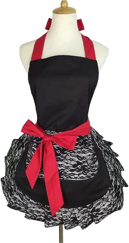 YAKEFJ Aprons For Women Girls With Pocket Black Lace Ruffle Original Apron Retro Sexy Apron Kitchen Cooking Christmas